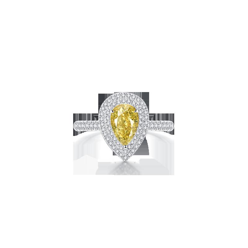 彩鉆鉑金鉆石戒指