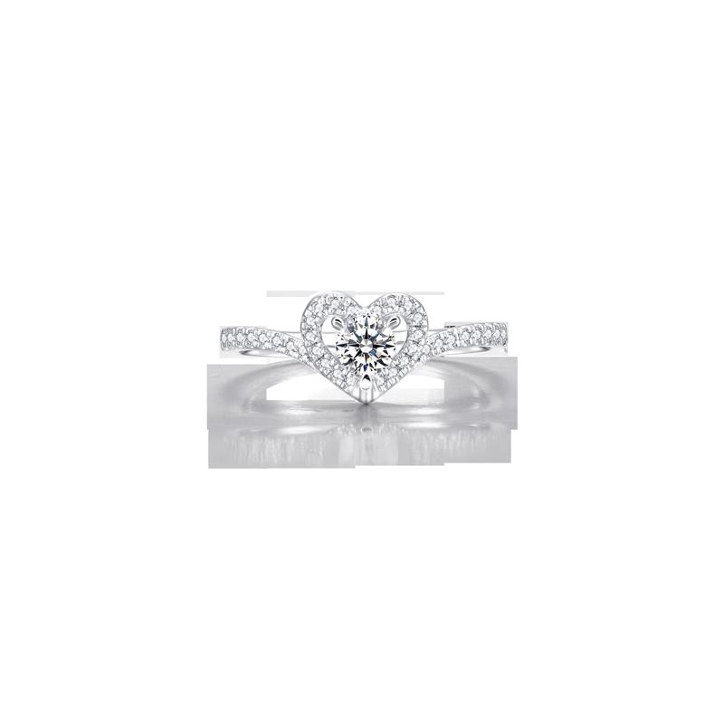 心形鉑金鉆石戒指