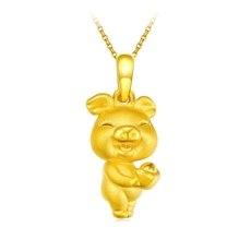 招財豬-黃金吊墜【3D硬金】