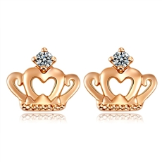 王妃之冠 18K玫瑰金钻石耳钉