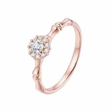 点睛竹 18K金钻石戒指