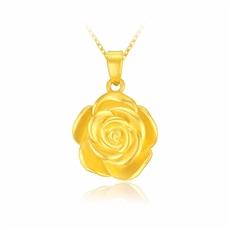 玫瑰花-黄金吊坠【3D硬金】