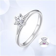 公主皇冠—18K金鉆石戒指【鑲紅寶】