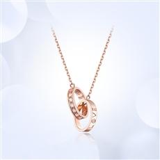 【新品】-18K玫瑰金钻石链坠