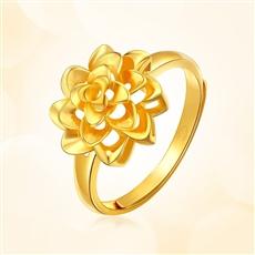 女人花-足金黃金戒指
