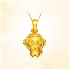 呆萌猴-足金黄金吊坠