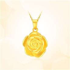 玫瑰花-足金黄金吊坠
