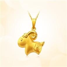 羊小花-足金黃金吊墜