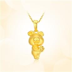 招財豬-足金黃金吊墜