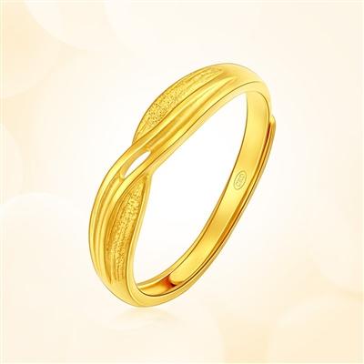 情人结-足金黄金戒指