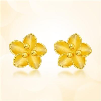 樱花情-足金黄金耳钉