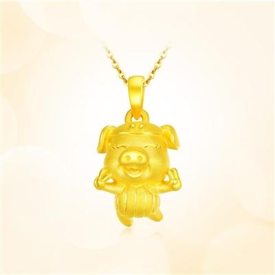 歡樂豬-足金黃金吊墜