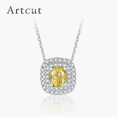 Artcut铂钻系列 彩钻铂金钻石链坠