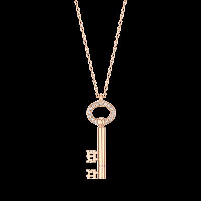 椭圆圣彼得钥匙钻石链坠