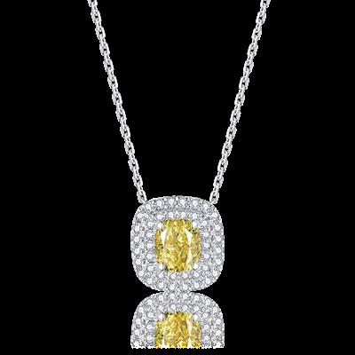 彩钻铂金钻石链坠