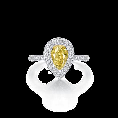彩钻铂金钻石戒指
