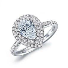 呵护-18K金水滴形钻石戒指