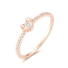 【新品】-18K玫瑰金钻石女戒