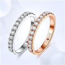 星语-18K金钻石戒指【内镶红宝石】