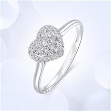 星悦 18K金群镶钻石戒指