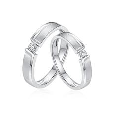 真爱一生系列-铂金钻石情侣戒