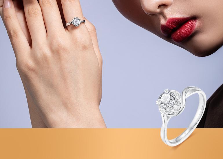 花恋铂金钻石戒指