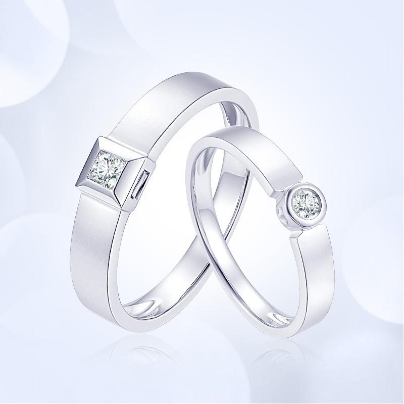 情侣戒指必买款式:爱情方圆情侣戒指