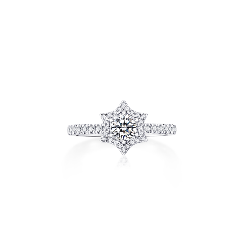 六芒星铂金钻石戒指