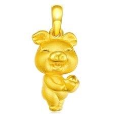 招财猪—3D足黄金吊坠