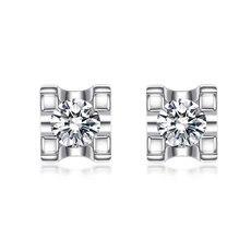 三叶草-18K金钻石耳钉