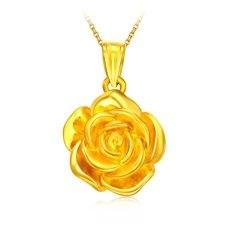玫瑰花-3D足黄金吊坠