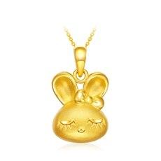 优雅兔-黄金吊坠【3D硬金】