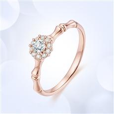 点睛竹—18K金钻石戒指